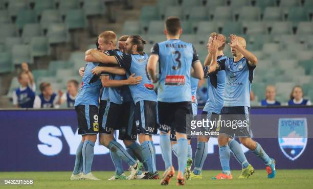 Matt Simon of Sydney FC celebrates a goal with team mates during the round 26 ALeague match between Sydney FC and Adelaide United at Allianz Stadium...