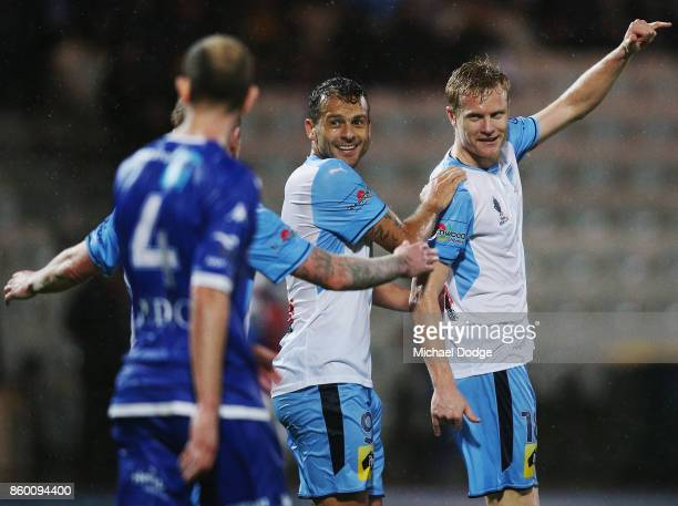 Matt Simon of Sydney FC celebrates a goal with teammates during the FFA Cup Semi Final match between South Melbourne FC and Sydney FC at Lakeside...
