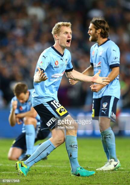 Matt Simon of Sydney FC celebrates during the penalty shoot out during the 2017 ALeague Grand Final match between Sydney FC and the Melbourne Victory...