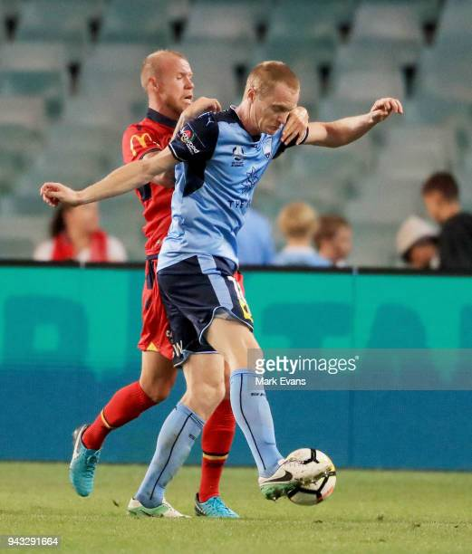 Matt Simon of Sydney FC competes for the ball during the round 26 ALeague match between Sydney FC and Adelaide United at Allianz Stadium on April 8...