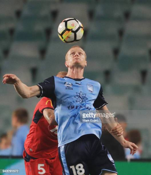 Matt Simon of Sydney FC heads the ball during the round 26 ALeague match between Sydney FC and Adelaide United at Allianz Stadium on April 8 2018 in...
