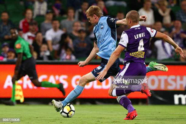 Matt Simon of Sydney takes a shot on goal during the round 25 ALeague match between the Perth Glory and Sydney FC at nib Stadium on March 29 2018 in...