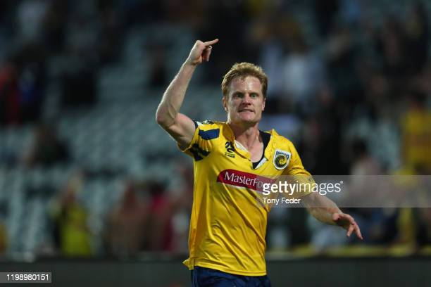 Matt Simon of the Central Coast Mariners celebrates a goal during the round 14 ALeague match between the Central Coast Mariners and the Melbourne...