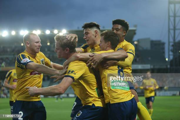Matt Simon of the Central Coast Mariners celebrates a goal during the round 14 A-League match between the Central Coast Mariners and the Melbourne...