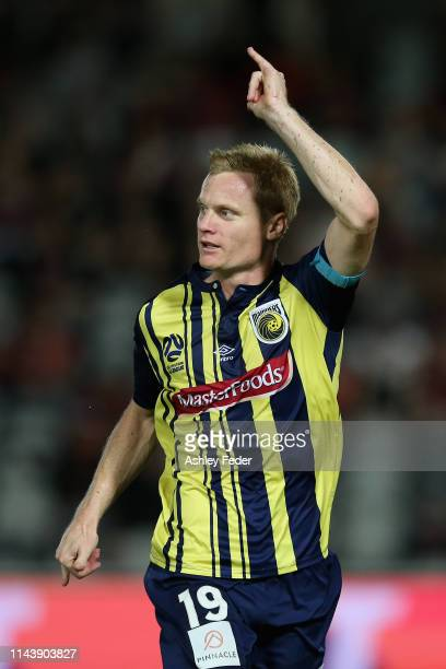 Matt Simon of the Central Coast Mariners celebrates his goal during the round 26 A-League match between the Central Coast Mariners and the Western...