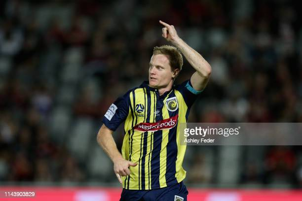 Matt Simon of the Central Coast Mariners celebrates his goal during the round 26 ALeague match between the Central Coast Mariners and the Western...