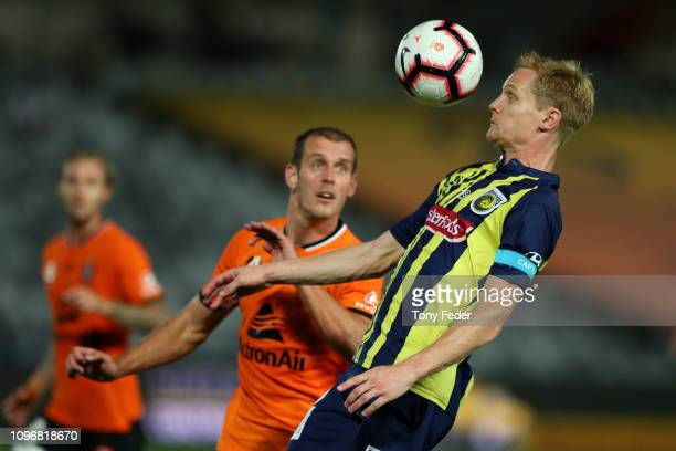 Matt Simon of the Central Coast Mariners controls the ball during the round 14 A-League match between the Central Coast Mariners and the Brisbane...