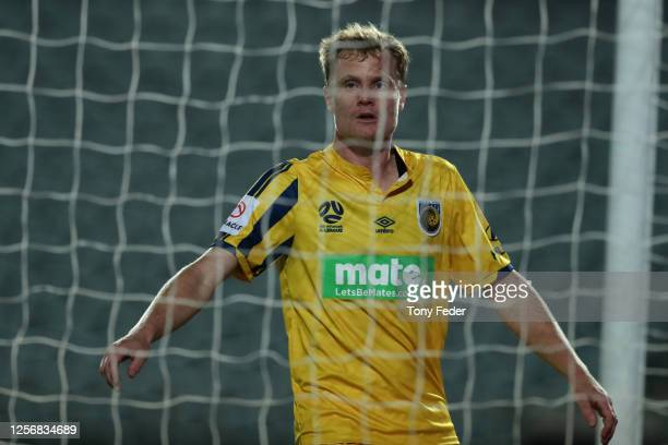 Matt Simon of the Central Coast Mariners during the round 29 A-League match between the Perth Glory and the Central Coast Mariners at Central Coast...