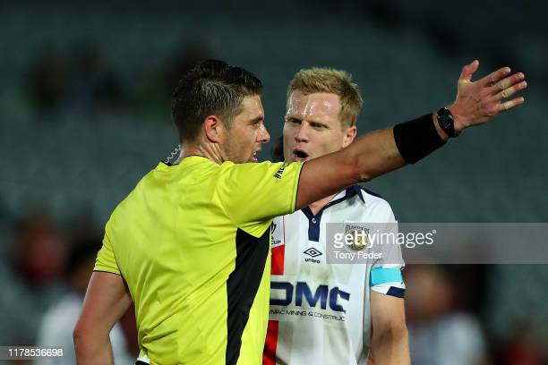 Matt Simon of the Central Coast Mariners is sent off during the FFA Cup 2019 Semi Final between the Central Coast Mariners and Adelaide United at...