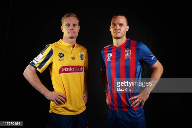 Matt Simon of the Mariners and Nigel Boogaard of the Jets pose during the ALeague 201920 ALeague season launch at Max Watts on October 08 2019 in...