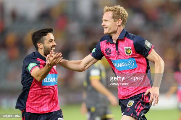 Matt Simon of the Mariners celebrates his goal during the A-League match between the Central Coast Mariners and Macarthur FC at Central Coast...