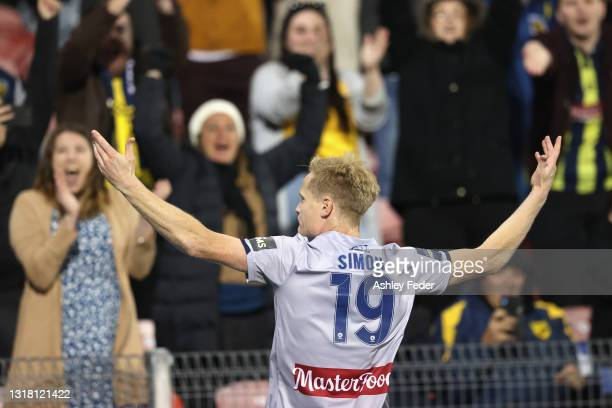 Matt Simon of the Mariners celebrates his goal during the A-League match between Newcastle Jets and Central Coast Mariners at McDonald Jones Stadium,...