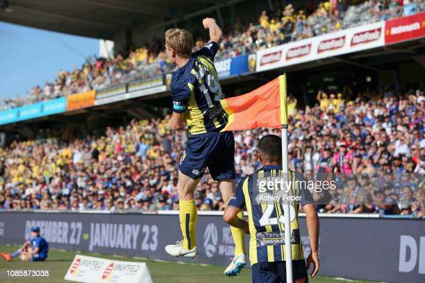 Matt Simon of the Mariners celebrates his goal with team mates during the round nine ALeague match between the Central Coast Mariners and the...