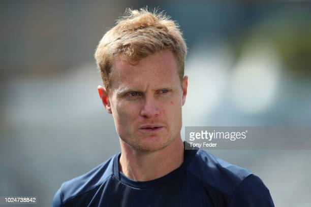 Matt Simon of the Mariners during an interview at a Central Coast Mariners training session at Central Coast Stadium on August 28 2018 in Gosford...