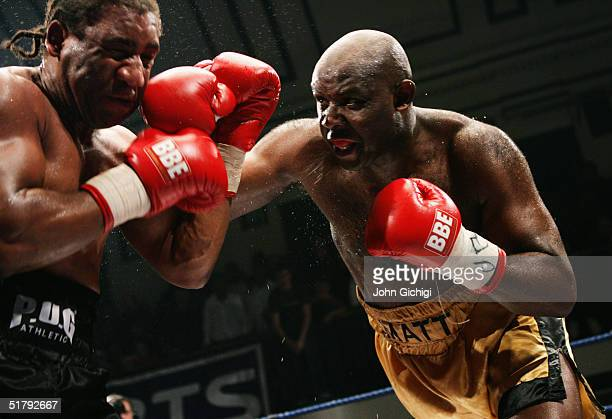 Matt Skelton of England in action against Keith Long of England during their British and Commonwealth Heavyweight Title fight at York Hall on...