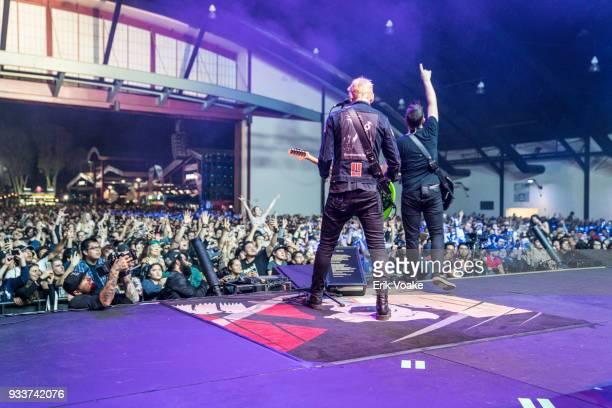 Matt Skiba and Mark Hoppus of Blink 182 performs at OC Fair Events Center on March 17 2018 in Costa Mesa California