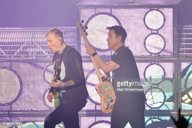 Matt Skiba and Mark Hoppus of Blink-182 perform at The Forum on August 08, 2019 in Inglewood, California.