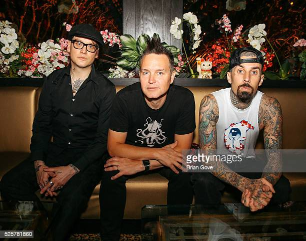 Matt Skiba Mark Hoppus and Travis Barker of Blink 182 attend the Blink 182Karaoke Summer Tour Announcement at the Blind Dragon on April 28 2016 in...