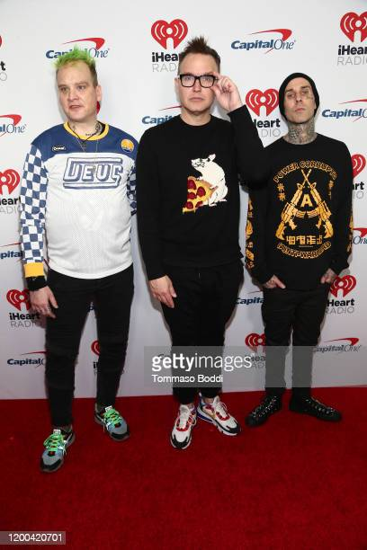Matt Skiba, Mark Hoppus and Travis Barker of Blink 182 attends the iHeartRadio ALTer EGO Presented by Capital One at The Forum on January 18, 2020 in...