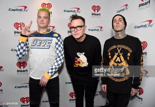 Matt Skiba Mark Hoppus and Travis Barker of blink182 attend the 2020 iHeartRadio ALTer EGO at The Forum on January 18 2020 in Inglewood California