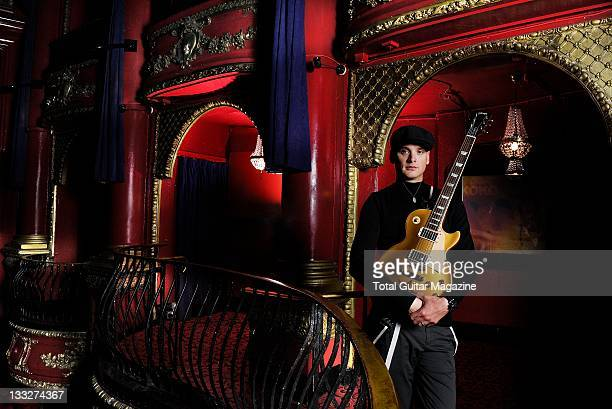 Matt Skiba of American punk rock band Alkaline Trio posing with his Gibson Les Paul Goldtop electric guitar during a portrait shoot on August 20 KOKO
