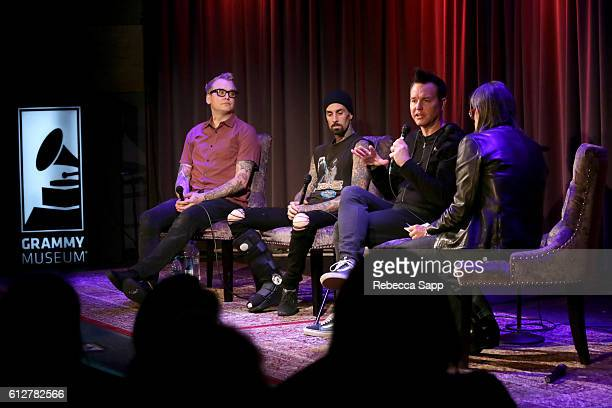 Matt Skiba Travis Barker and Mark Hoppus of Blink182 speak with Vice President of the GRAMMY Foundation Scott Goldman at A Conversation With Blink182...