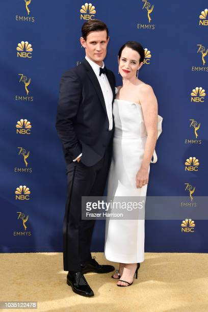 Matt Smith and Claire Foy attend the 70th Emmy Awards at Microsoft Theater on September 17 2018 in Los Angeles California
