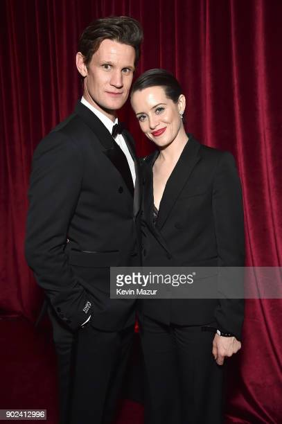 Matt Smith and Claire Foy attend the Netflix Golden Globes after party at Waldorf Astoria Beverly Hills on January 7 2018 in Beverly Hills California