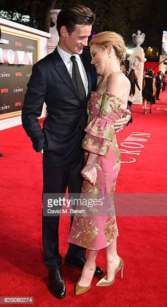 Matt Smith and Claire Foy attend the World Premiere of new Netflix Original series The Crown at Odeon Leicester Square on November 1 2016 in London...