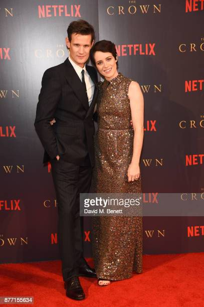 Matt Smith and Claire Foy attend the World Premiere of season 2 of Netflix 'The Crown' at Odeon Leicester Square on November 21 2017 in London England