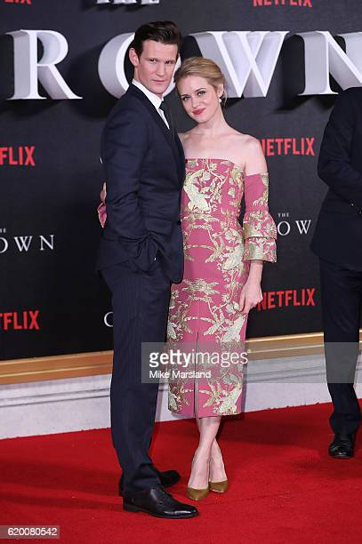 Matt Smith and Claire Foy attend the world premiere of The Crown at Odeon Leicester Square on November 1 2016 in London England