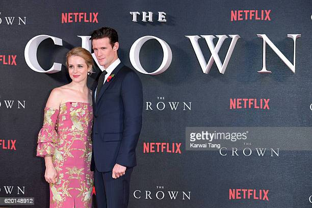 Matt Smith and Claire Foy attend the world premiere of 'The Crown' at Odeon Leicester Square on November 1 2016 in London England