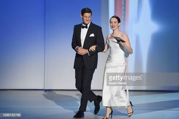 Matt Smith and Claire Foy walk onstage during the 70th Emmy Awards at Microsoft Theater on September 17 2018 in Los Angeles California