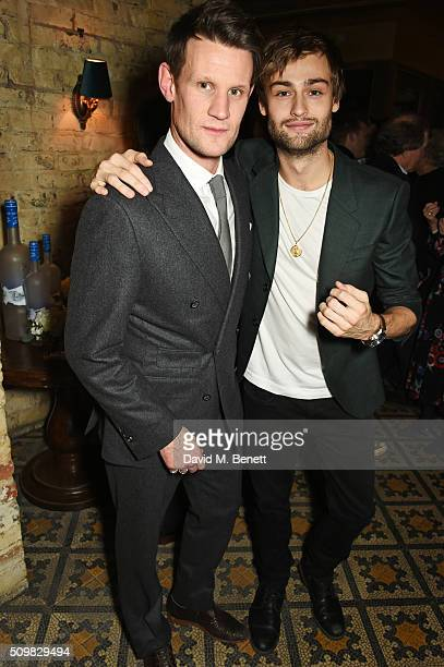 Matt Smith and Douglas Booth attend Harvey Weinstein's preBAFTA dinner in partnership with Burberry and GREY GOOSE at Little House Mayfair on...