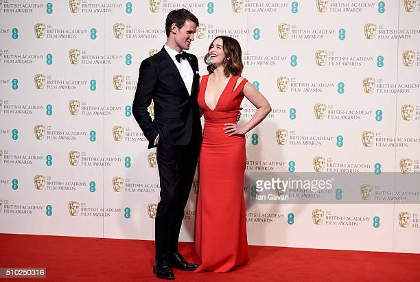Matt Smith and Emilia Clarke pose in the winners room at the EE British Academy Film Awards at the Royal Opera House on February 14, 2016 in London,...