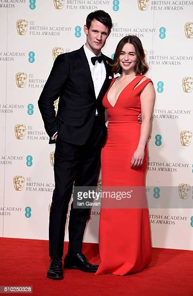 Matt Smith and Emilia Clarke pose in the winners room at the EE British Academy Film Awards at the Royal Opera House on February 14 2016 in London...