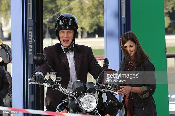 Matt Smith and JennaLouise Coleman seen filming 'Dr Who' on London's Southbank on October 16 2012 in London England