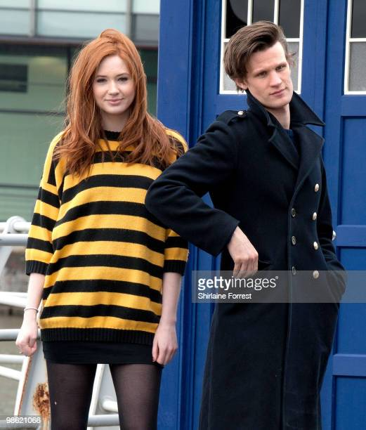 Matt Smith and Karen Gillan attend photocall to launch the new season of 'Dr Who' at The Lowry on March 31 2010 in Manchester England