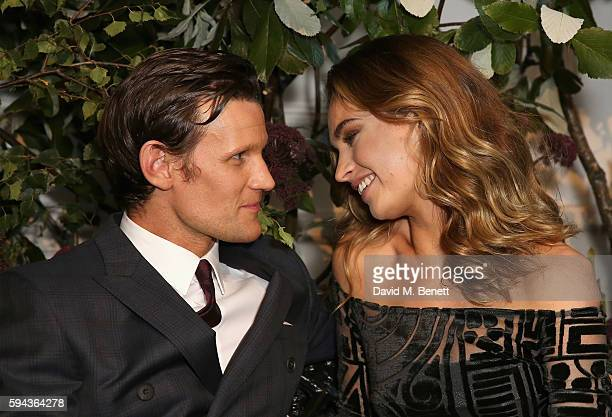 Matt Smith and Lily James attend an event hosted by Lily James to celebrate the launch of My Burberry Black at Burberry's all day cafe Thomas's on...