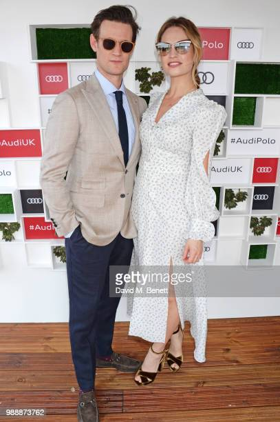 Matt Smith and Lily James attend the Audi Polo Challenge at Coworth Park Polo Club on July 1 2018 in Ascot England