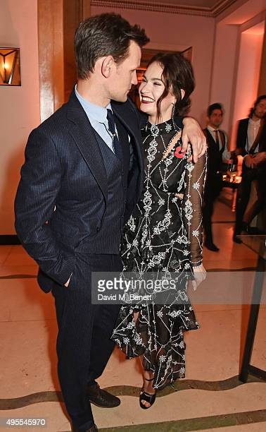 Matt Smith and Lily James attend the Harper's Bazaar Women of the Year Awards 2015 at Claridges Hotel on November 3 2015 in London England