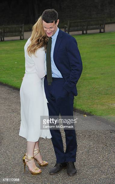 Matt Smith and Lily James attend the Vogue and Ralph Lauren Wimbledon party at The Orangery on June 22 2015 in London England