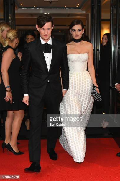 Matt Smith and Lily James leave from The Mark Hotel for the 2017 'Rei Kawakubo/Comme des Garçons Art of the InBetween' Met Gala on May 1 2017 in New...