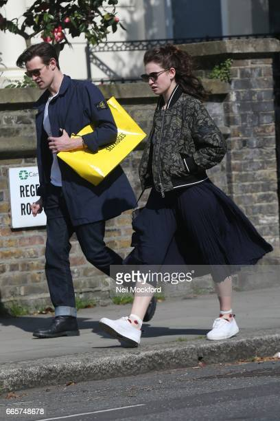 Matt Smith and Lily James seen enjoying the sunshine and having lunch at Lemonia restaurant in Primrose Hill on April 7 2017 in London England