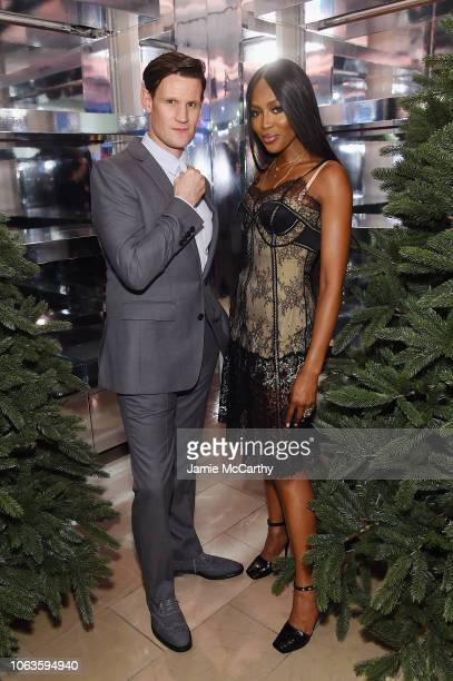 Matt Smith and Naomi Campbell attend as Naomi Campbell and Matt Smith celebrate 'Close Your Eyes And Think Of Christmas' in New York on November 19...