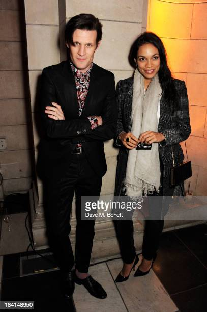 Matt Smith and Rosario Dawson attend the private view for the 'David Bowie Is' exhibition in partnership with Gucci and Sennheiser at the Victoria...