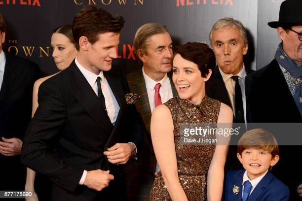 Matt Smith Andy Harries Claire Foy Billy Jenkins and Ben Miles attend the World Premiere of season 2 of Netflix 'The Crown' at Odeon Leicester Square...