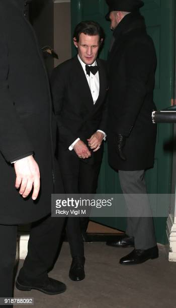 Matt Smith attends the Dunhill GQ preBAFTA filmmakers dinner and party cohosted by Andrew Maag Dylan Jones at Bourdon House on February 15 2018 in...
