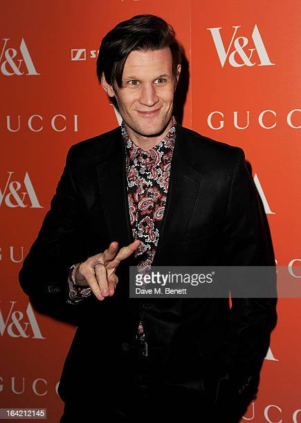 Matt Smith attends the private view for the 'David Bowie Is' exhibition in partnership with Gucci and Sennheiser at the Victoria and Albert Museum on...