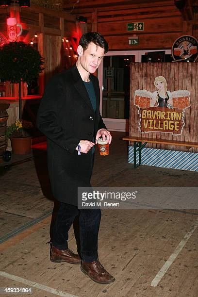 Matt Smith attends the Winter Wonderland VIP opening at Hyde Park on November 20 2014 in London England